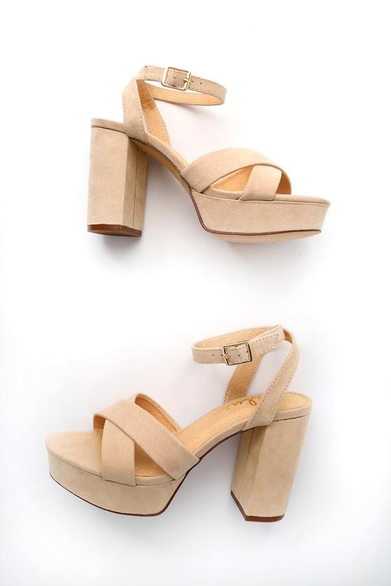 ab6a2fd379 Cute Ankle Strap Heels - Platform Heels - Nude Heels