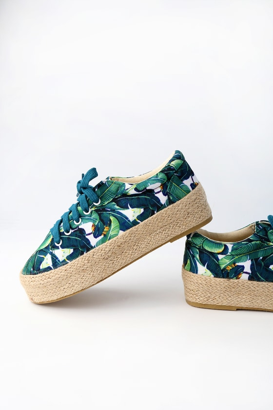 Lulus Cay Multi Tropical Print Slip-On Sneakers - Lulus 6mY1WGNVT