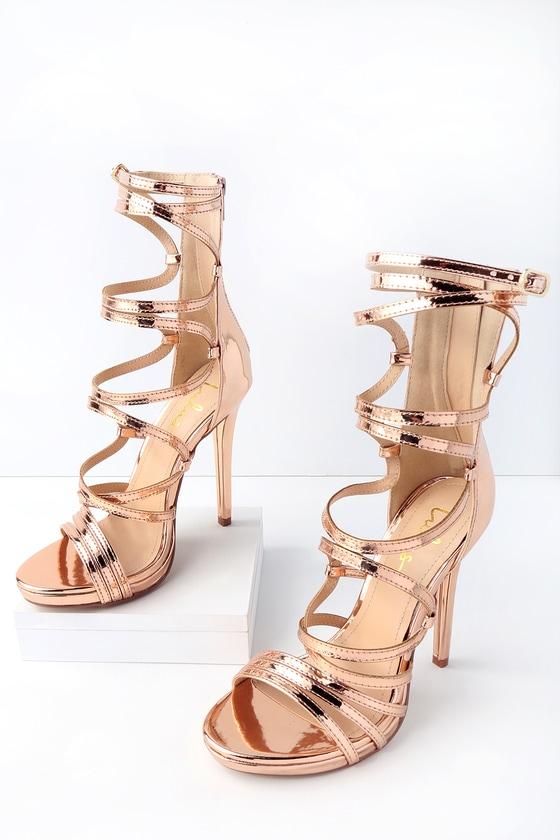 617da88d2dc Sexy Caged Heels - Rose Gold Heels - Vegan Heels