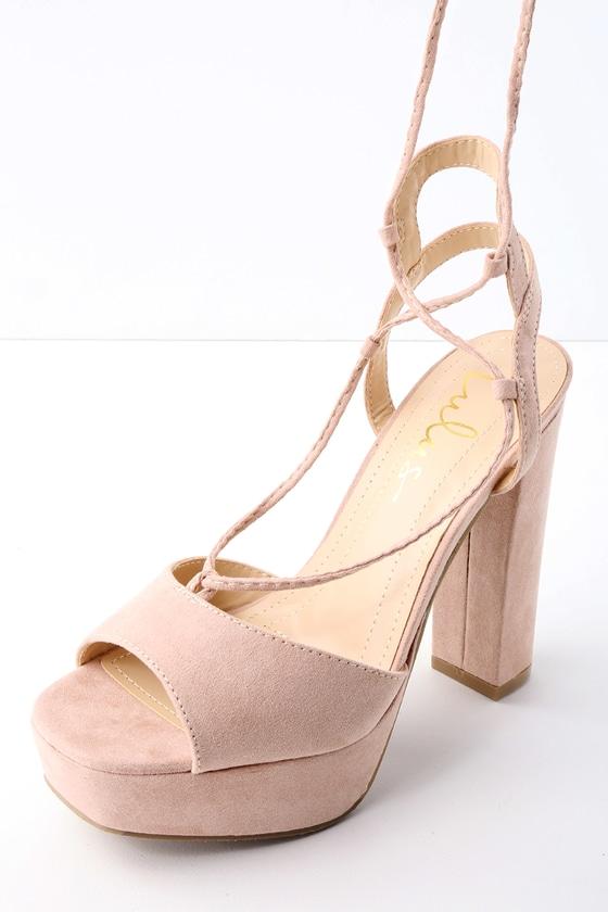 428adc9479e3 Sexy Platform Heels - Lace-Up Heels - Nude Heels