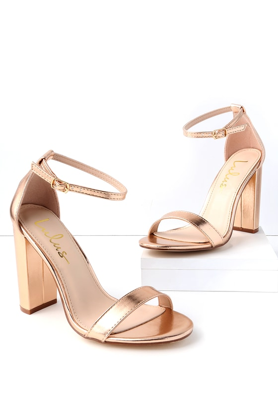 Sexy Rose Gold Heels - Ankle Strap Heels - Single Sole Heels
