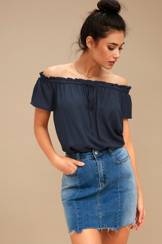 f774c3a45ce Cute Navy Blue Top - Off-the-Shoulder Top - Short Sleeve Top