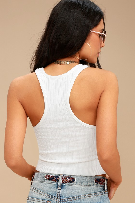 5d561daa209 Cute White Tank Top - Cropped Tank Top - Ribbed Knit Top
