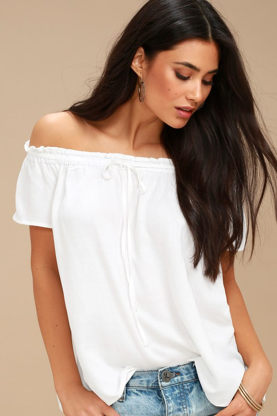04d318ffaa Cute White Top - Off-the-Shoulder Top - Short Sleeve Top