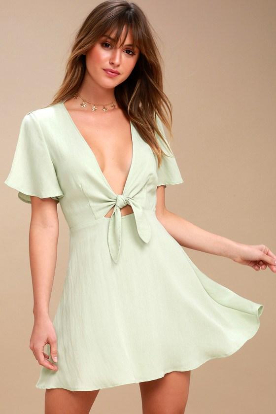 4c70fbcfd4b9 Cute Sage Green Dress - Skater Dress - Tie-Front Dress