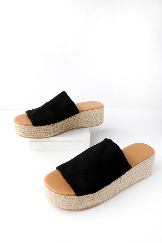 6909284812ac Cute Black Sandals - Espadrille Sandals - Slide Sandals