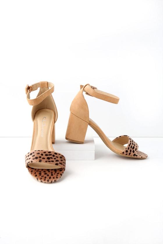 b899a29f39 CL by Laundry Jody - Cute Cheetah Heels - Ankle Strap Heels