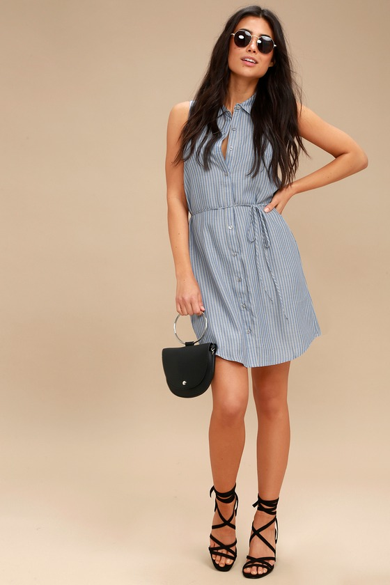 1b712bf49d6677 Cute Blue and Grey Striped Dress - Sleeveless Shirt Dress
