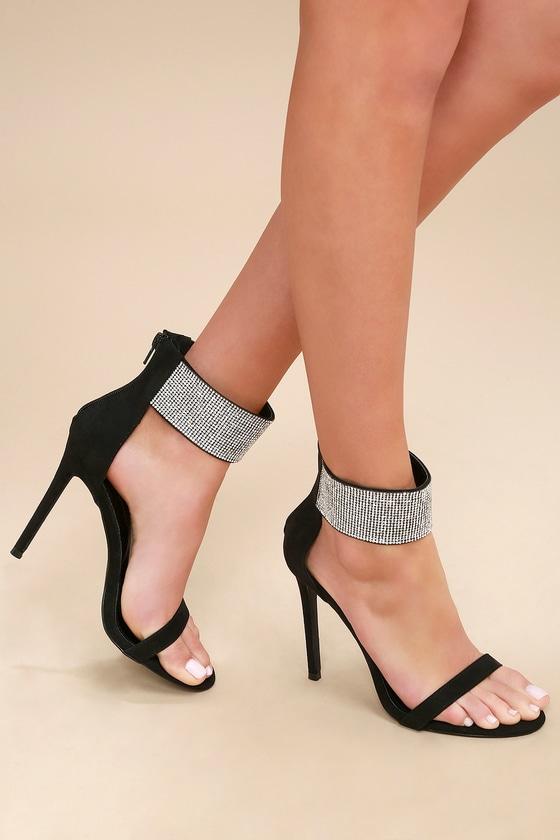 3f12294761f6 Sexy Black Heels - Ankle Strap Heels - Rhinestone Heels