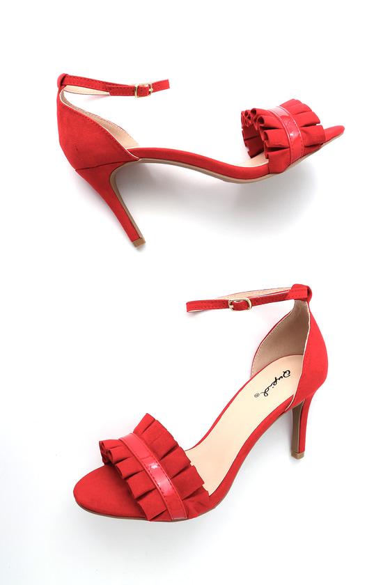 53424f837f Chic Red Heels - Vegan Suede Heels - Ankle Strap Heels