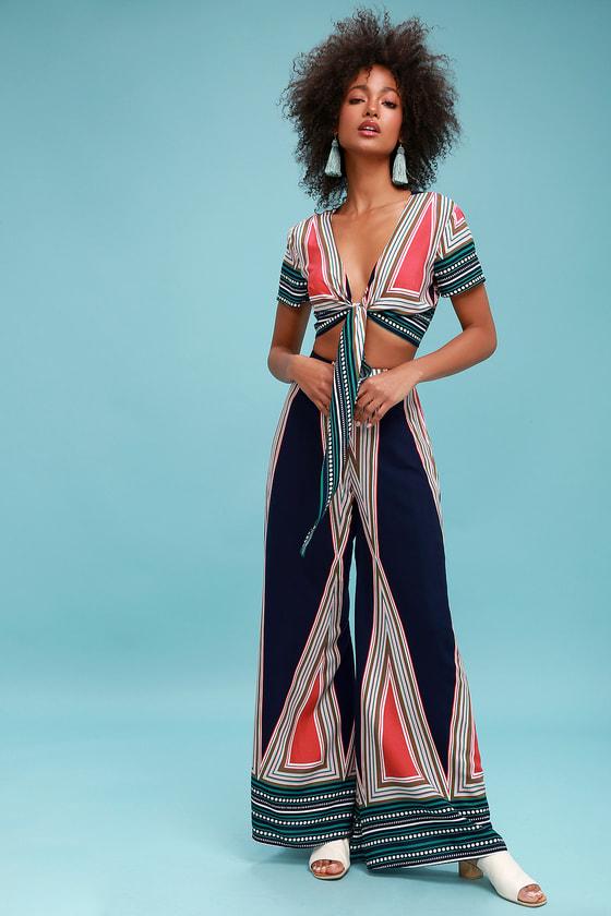 60s – 70s Pants, Jeans, Hippie, Bell Bottoms, Jumpsuits Geo Grande Navy Blue Print Two-Piece Set - Lulus $28.00 AT vintagedancer.com