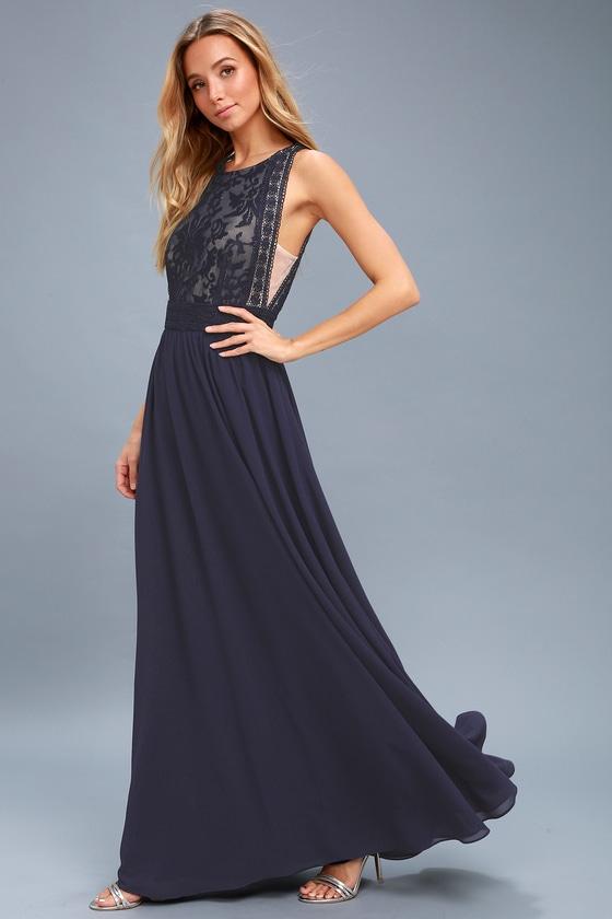fcf799b202009 Lovely Navy Blue Dress - Lace Dress - Lace Maxi Dress