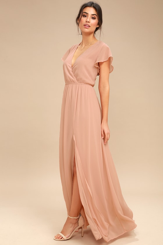 67b222f6364 Elegant Blush Maxi Dress - Short Sleeve Maxi Dress