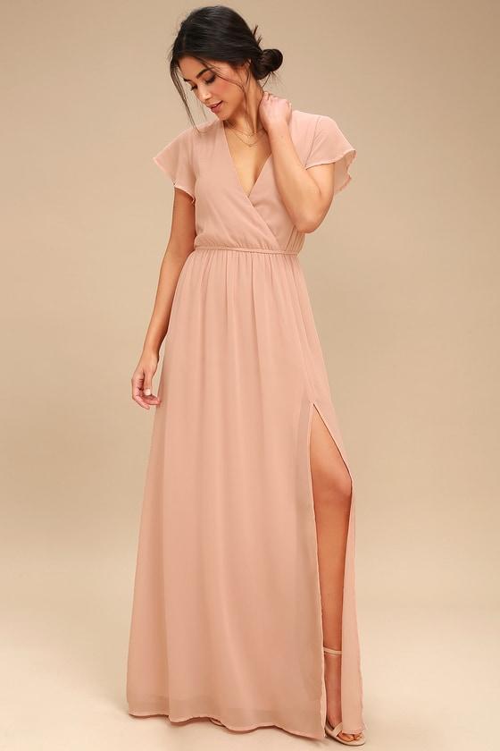 33995739594 Elegant Blush Maxi Dress - Short Sleeve Maxi Dress