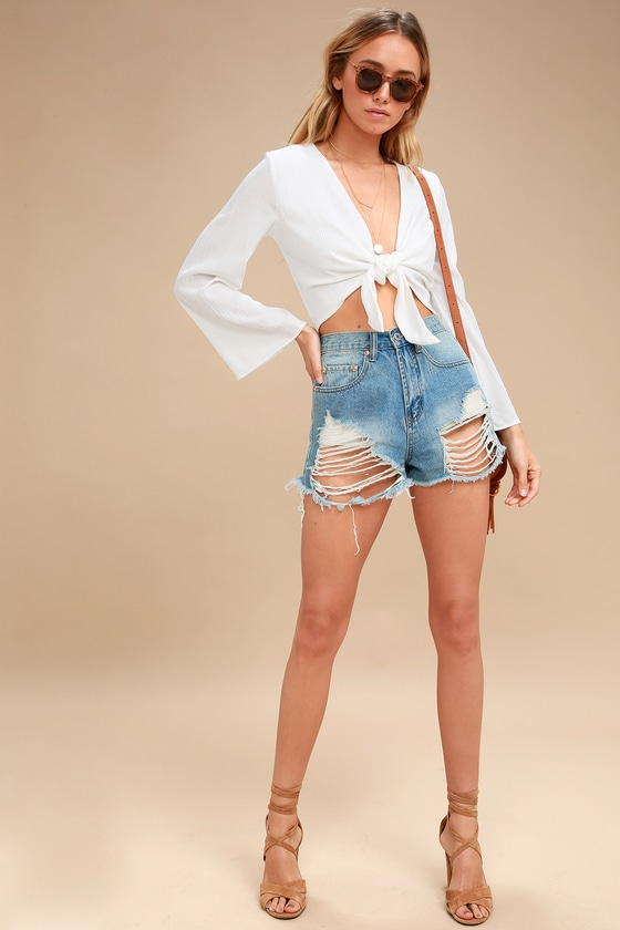 fa5e3bd34ed2 Chic Tie-Front Top - Crop Top - Long Sleeve Top - White Top