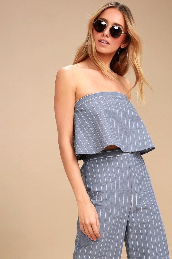 2a0f5564f2 Cute Strapless Crop Top - Blue and White Striped Crop Top