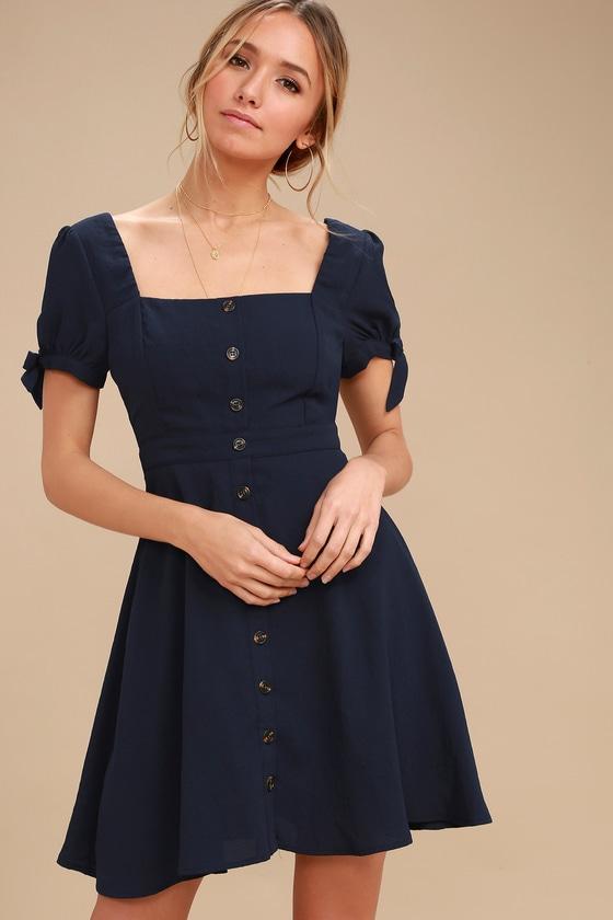 dd2918b2b98f Cute Navy Blue Dress - Skater Dress - Button-Up Dress