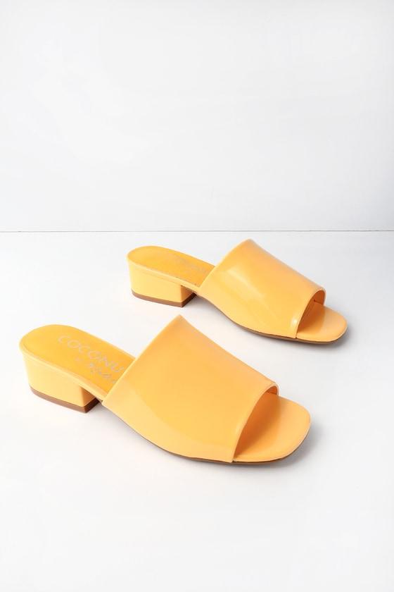 662912c8b5682 Coconuts Plantain - Yellow Patent Mules - Vegan Mules
