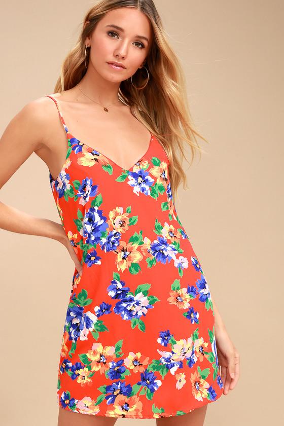 af6d716c11 Lovely Red Orange Dress - Shift Dress - Floral Print Dress