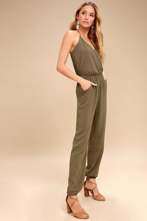 4ec284f3ad21 Cute Olive Green Jumpsuit - Sleeveless Jumpsuit