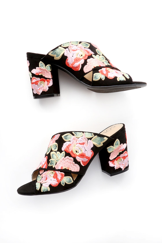 Sole Society LUELLA BLACK AND CORAL MULTI FLORAL PRINT EMBROIDERED MULES