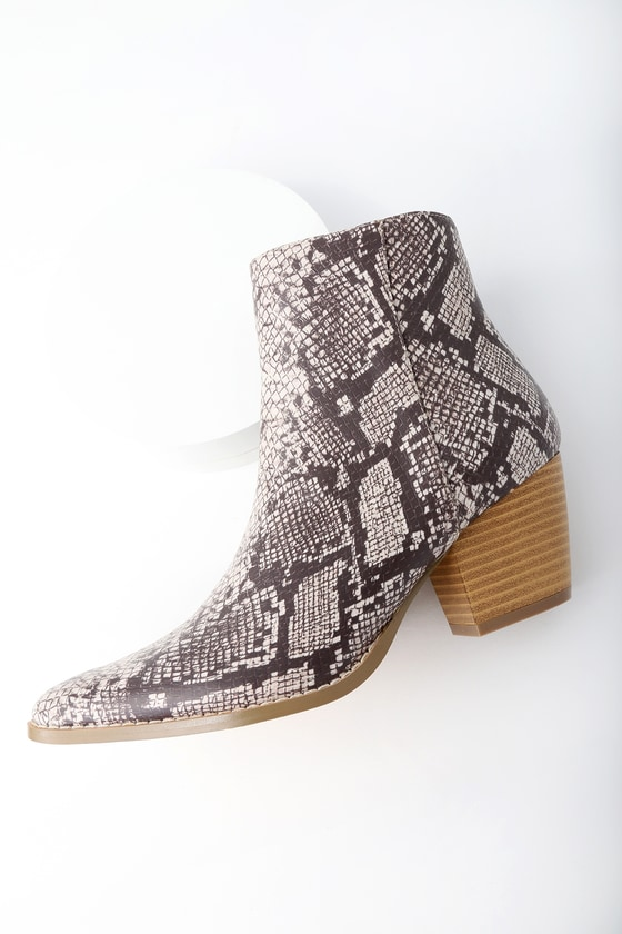 Spirit Natural Snake Print Pointed Toe Ankle Booties
