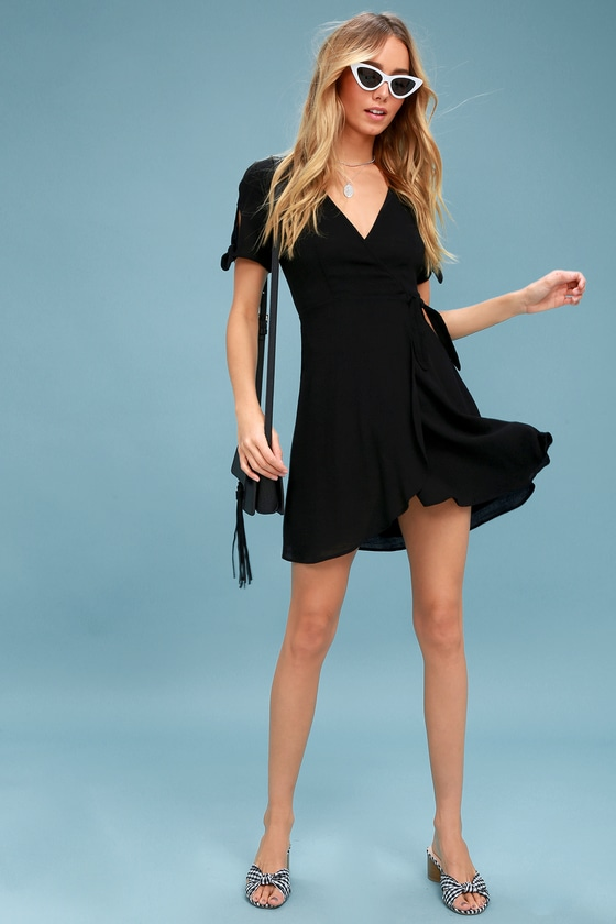 d785b9d59ba Cute Black Dress - Wrap Dress - Short Sleeve Dress