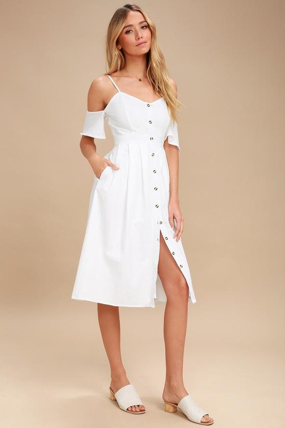 29e65bf0b880 Lovely White Dress - Off-the-Shoulder Dress - Midi Dress