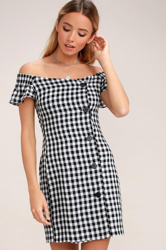 4b4a6e1ce28e Sexy Black and White Gingham Dress - Off-the-Shoulder Dress