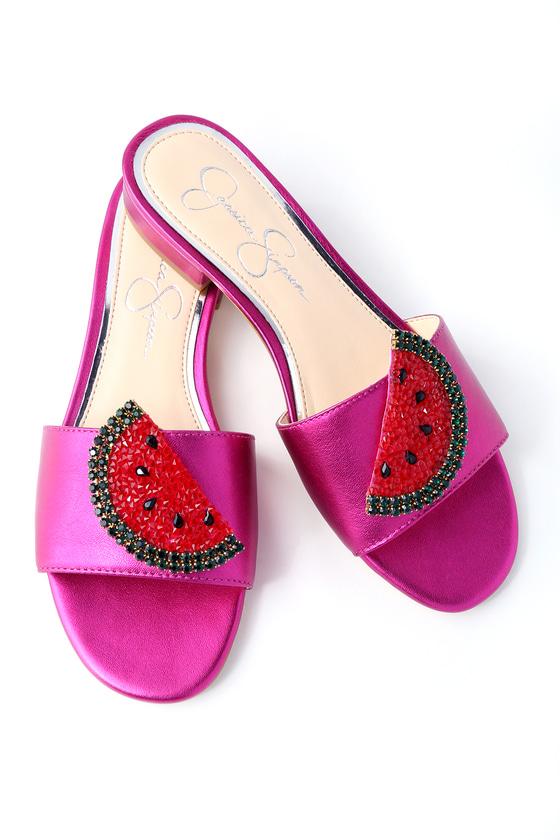 Lulus Crizma Lux Magenta Rhinestone Slide Sandal Heels - Lulus AutqD4pq