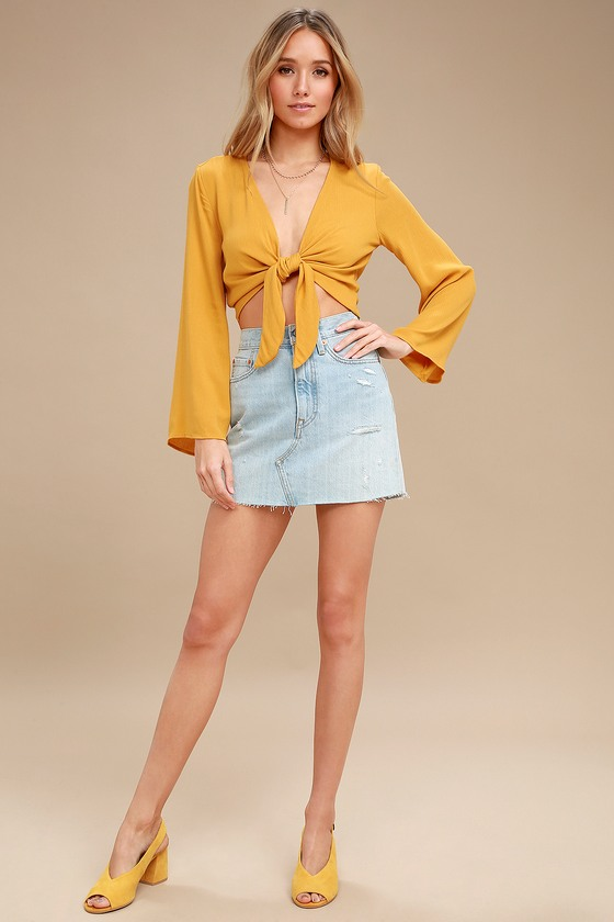 999bd3b79 Weekend Wishes Mustard Yellow Tie-Front Long Sleeve Crop Top