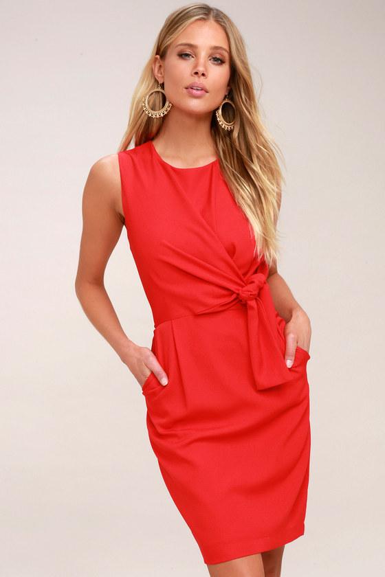 4a491547720 Classy Red Dress - Tie-Front Dress - Midi Dress