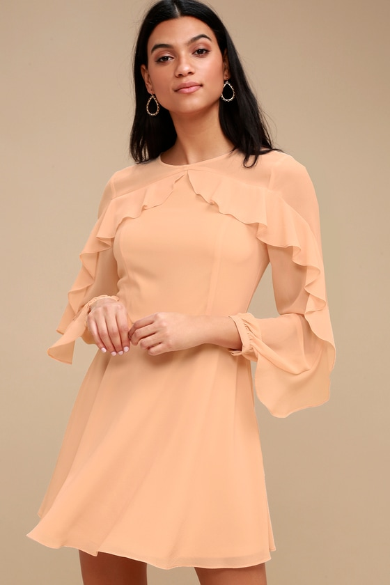 6ba2939a9fc Lovely Peach Dress - Long Sleeve Dress - Skater Dress