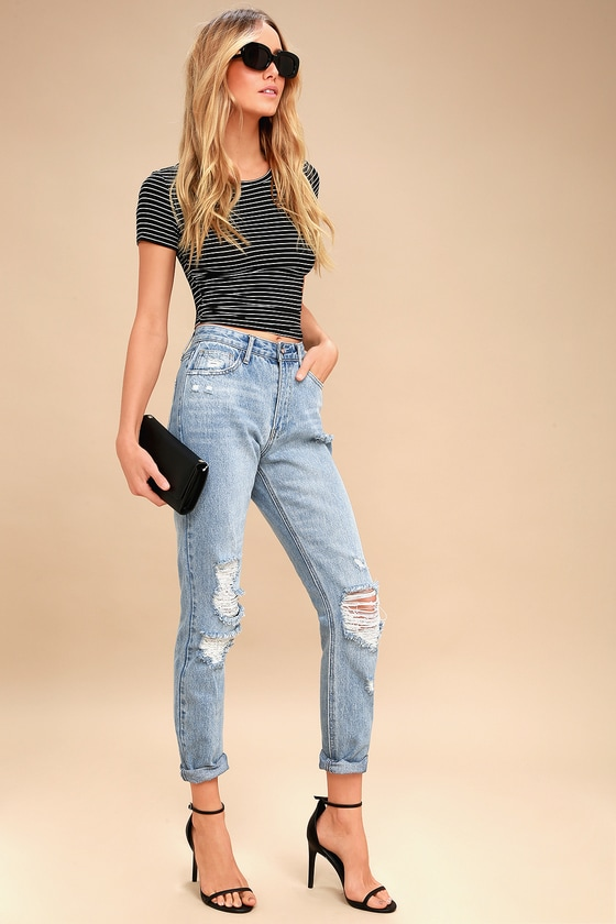ae1b8b27430 Trendy Light Wash Jeans - Distressed Jeans - High Rise Jeans