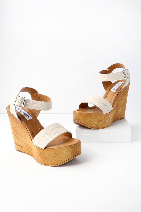 Lulus Belma Off- Leather Wedge Sandal Heels - Lulus xrpcRF
