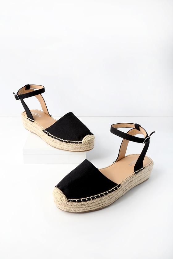 Black Espadrilles Flatform Shoes Flat Espadrilles