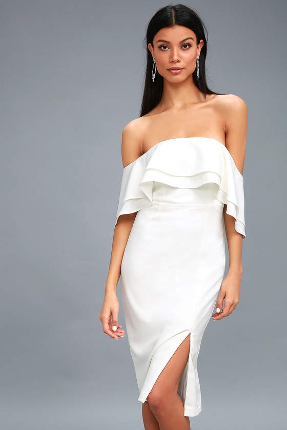 Bardot Band White Midi Dress Ots Midi Dress