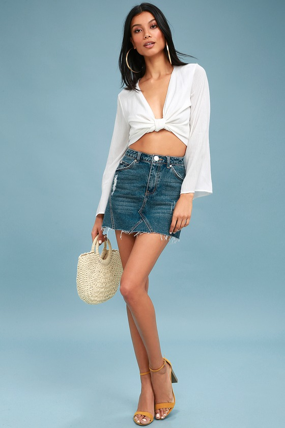 6001f99c48 Cute Medium Wash Denim Skirt - Distressed Denim Mini Skirt