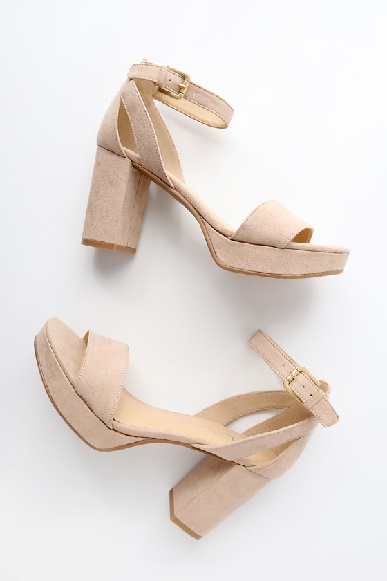 Chinese Laundry GO ON NUDE SUEDE PLATFORM ANKLE STRAP HEELS