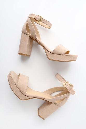 6f8290c89d2d Go On Nude Suede Platform Ankle Strap Heels