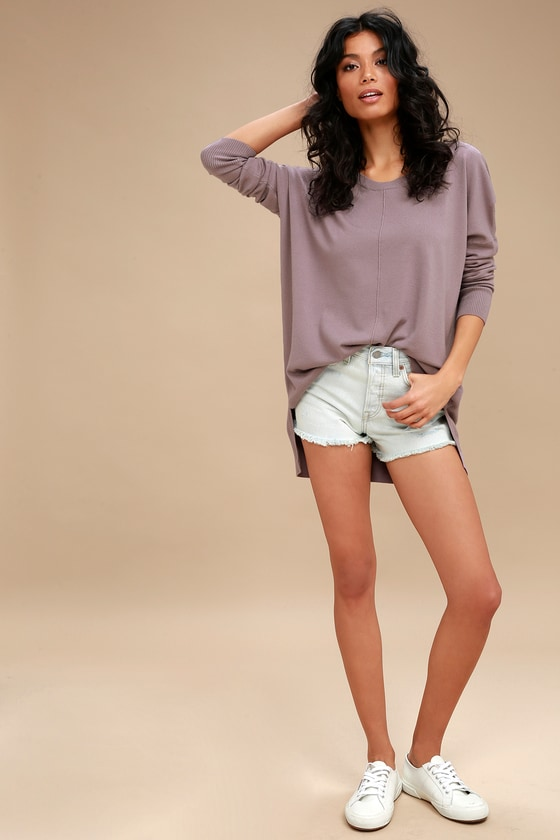 214ed59c306 Cute Dusty Purple Sweater Top - Oversized Sweater Top