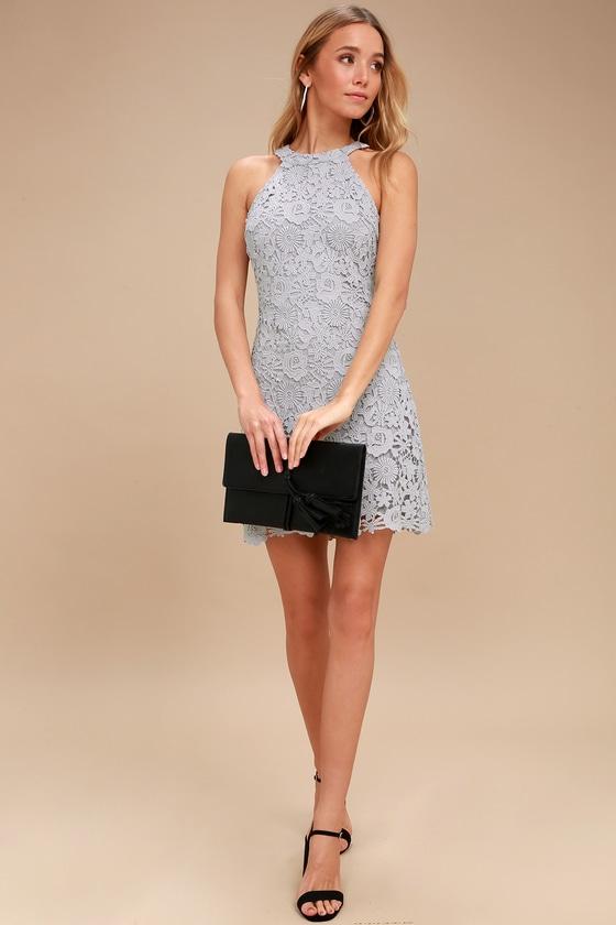 Cute Lace Dress - Light Grey Dress - Lace Bodycon Dress