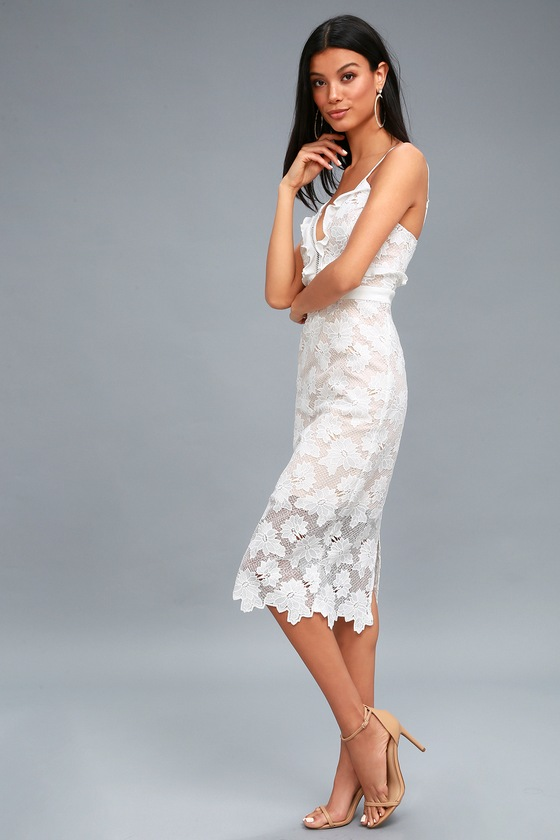 3feaa1b8436654 Bardot Vienna - Lace Dress - Midi Dress - White Lace Dress