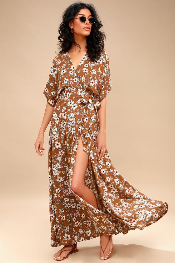 61b6aba543bd Faithfull the Brand Bergamo - Brown Floral Print Wrap Maxi