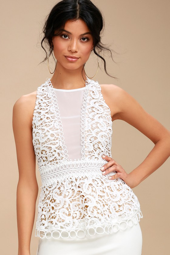 8452060091477 Pretty Lace Top - White Top - Sleeveless Top - Lace Blouse