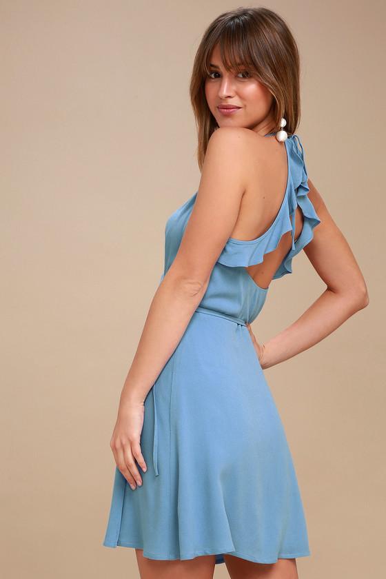 f5d1080363de Cute Wrap Dress - Backless Wrap Dress - Blue Wrap Dress