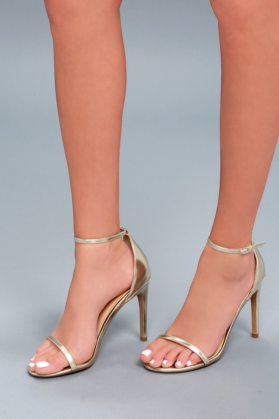 Lulus Angie Champagne Ankle Strap Heels - Lulus GD49DgVk