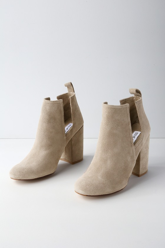 598b04fe5f1 Naomi Taupe Suede Leather Cutout Ankle Booties