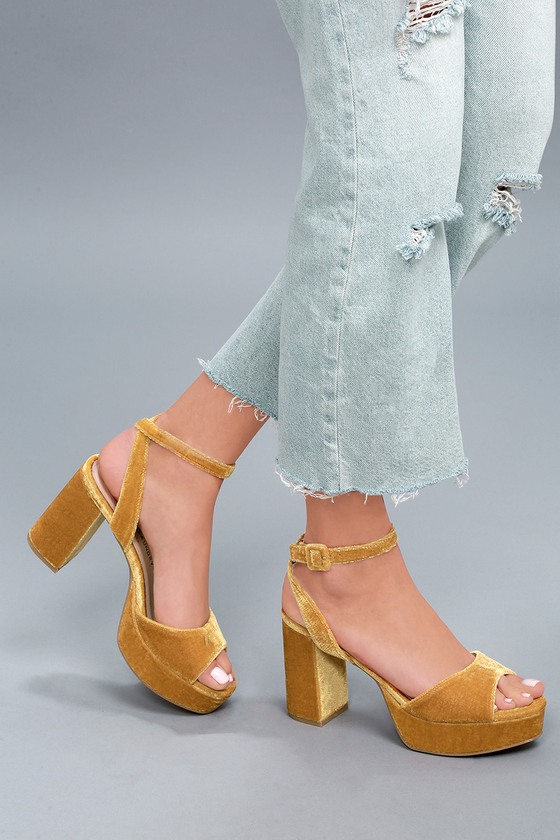 fa150a4cec5 Theresa Golden Yellow Velvet Platform Heels