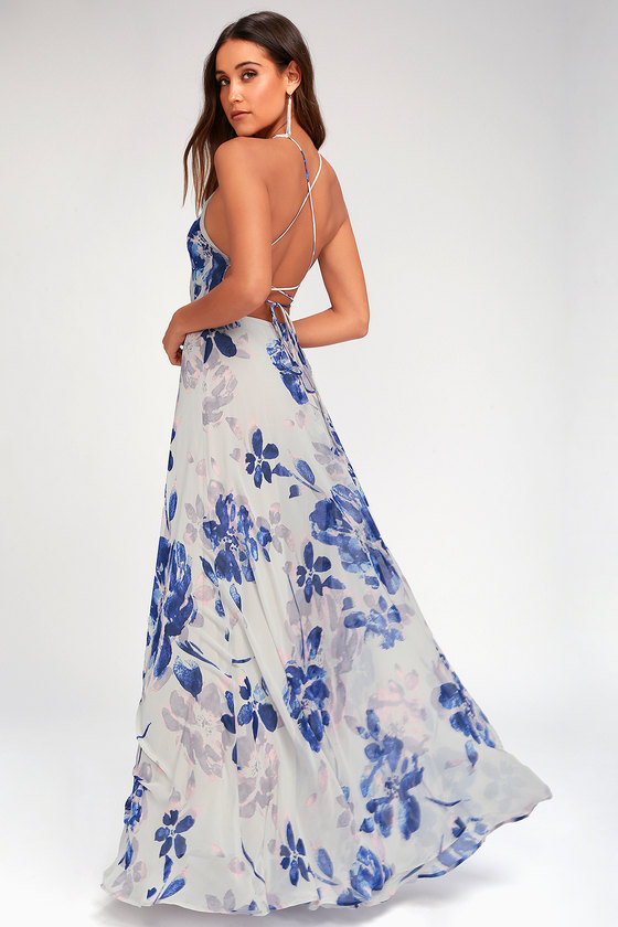 692d51b5a912 Stunning Grey Floral Print Dress - Lace-Up Maxi Dress